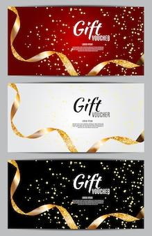 Роскошные участники, шаблон подарочной карты для праздничной подарочной карты, купон и сертификат с лентами и подарочной коробкой для вашего бизнеса