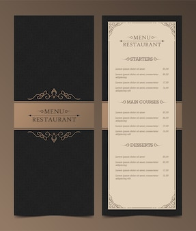 Luxury menu layout with ornamental elements.