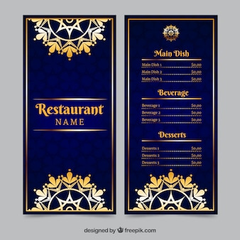 Luxury menu template with golden ornaments