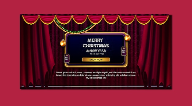 Luxury merry christmas discount price sale special offer up to banner template