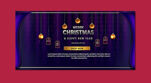 Luxury merry christmas promotion price sale special offer up to banner template