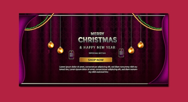 Luxury merry christmas promotion sale special offer up to banner template