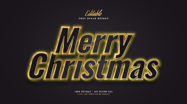 Luxury merry christmas text in black and gold with glowing effect. editable text style effect