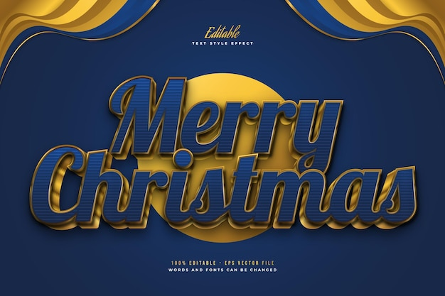 Luxury merry christmas text in blue and gold style with 3d effect. editable text style effect