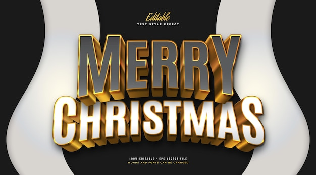 Luxury merry christmas text in gray, white and gold with 3d effect. editable text style effect
