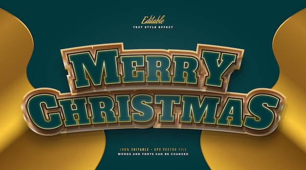 Luxury merry christmas text in green and gold with 3d curved effect. editable text style effect