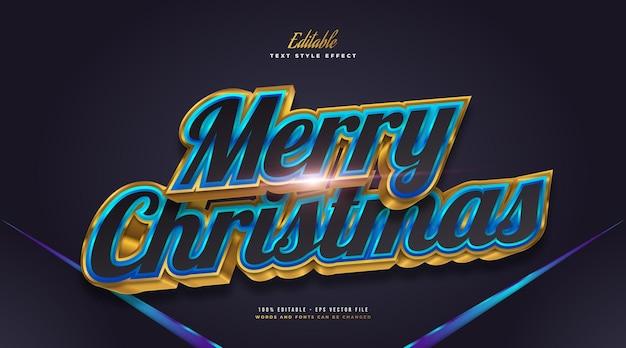 3d 효과가 있는 검정, 파랑 및 금색의 럭셔리 메리 크리스마스 텍스트. 편집 가능한 텍스트 스타일 효과