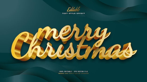 대담한 황금 스타일과 3d 효과의 럭셔리 메리 크리스마스 텍스트. 편집 가능한 텍스트 스타일 효과