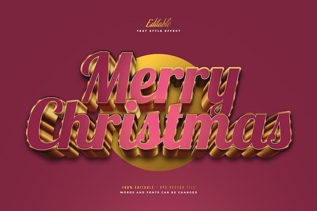 3d 효과와 빨간색과 금색 스타일의 럭셔리 메리 크리스마스 텍스트. 편집 가능한 텍스트 스타일 효과