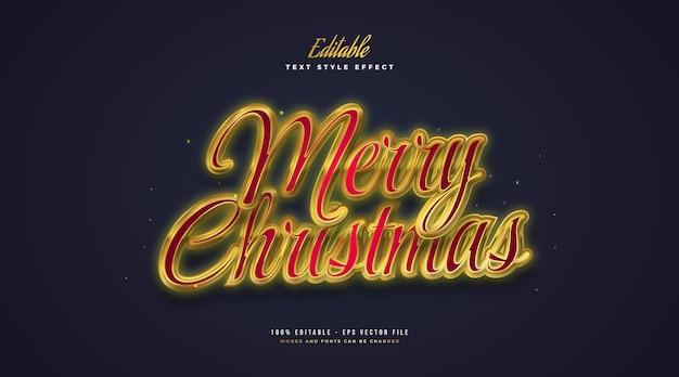 빛나는 효과와 빨간색과 금색의 럭셔리 메리 크리스마스 텍스트. 편집 가능한 텍스트 스타일 효과