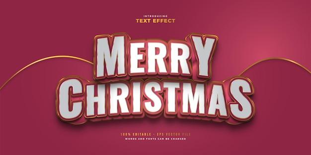 3d 효과가 있는 흰색, 빨간색 및 금색의 럭셔리 메리 크리스마스 텍스트. 편집 가능한 텍스트 스타일 효과