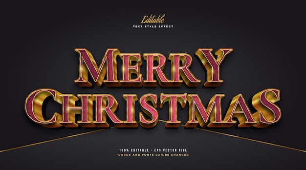 Luxury merry christmas text in red and gold style with 3d and textured effect. editable text style effect
