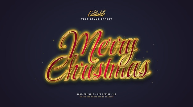 Luxury merry christmas text in red and gold with glowing effect. editable text style effect