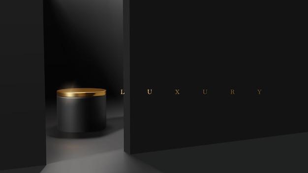 제품 프리젠 테이션을위한 럭셔리 미니멀 블랙 및 골드 연단 장면. 전문적인 제품 디스플레이 배치