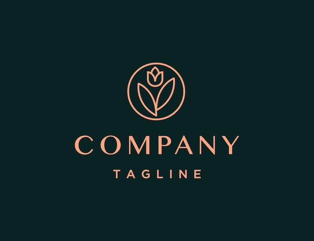 Luxury and minimal rose logo template
