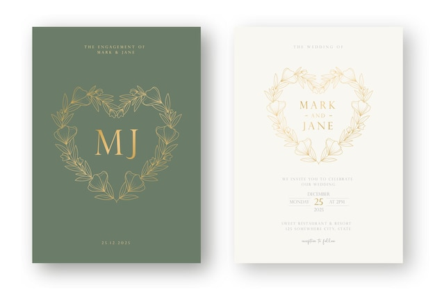 Luxury and minimal wedding invitation card template with  line art  style floral wreath illustration