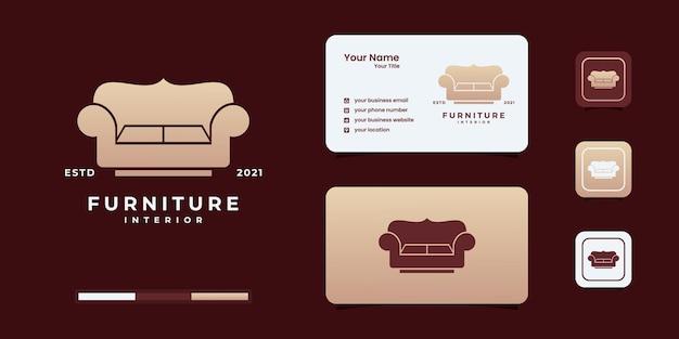 椅子のロゴのデザインテンプレートと豪華なミニマリストの家具のロゴ。