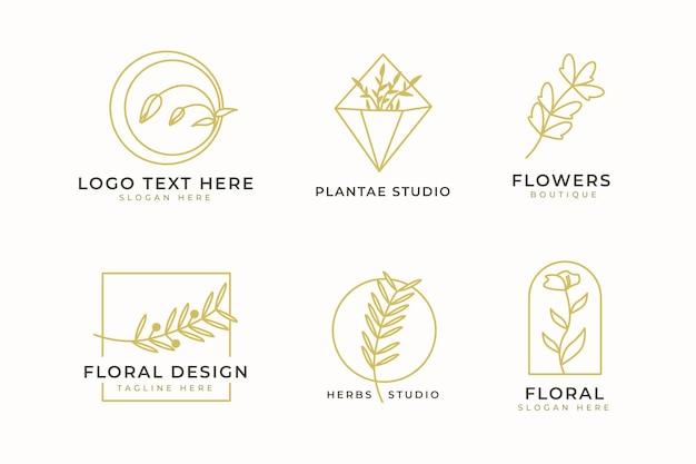 고급스러운 미니멀리즘 로고 디자인 컬렉션입니다. 브랜딩 로고, 기업 아이덴티티 및 웨딩 모노그램 디자인을 위한 이니셜과 꽃 장식이 있는 미니멀한 엠블럼.