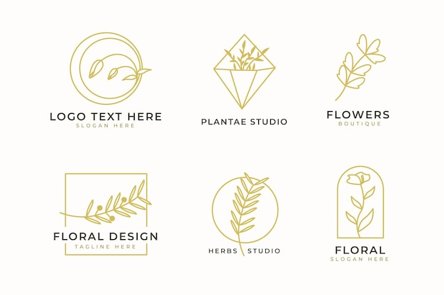 Luxury minimalist logo design collection. minimalist emblems with initials and floral decorative for branding logo, corporate identity and wedding monogram design.