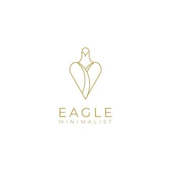 ラインアートスタイルの豪華なミニマリストシンプルでエレガントなゴールドイーグルのロゴデザイン