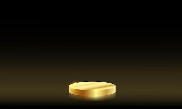 럭셔리 모형 장면입니다. 제품에 대한 형상 모양 연단 골드 금속 배경입니다. 벡터 3d