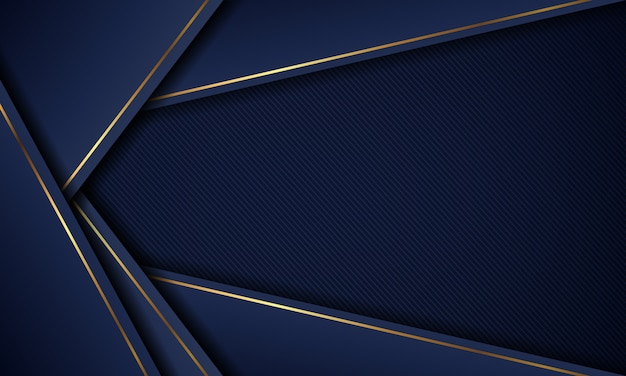 Luxury modern blue background overlap layer with golden lines