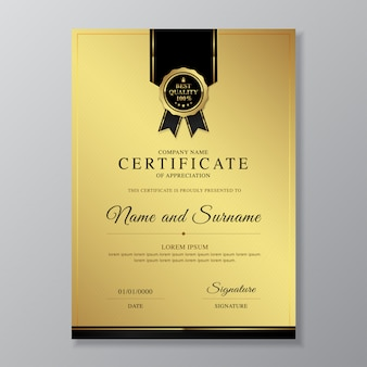 Luxury and modern certificate and diploma of appreciation design template