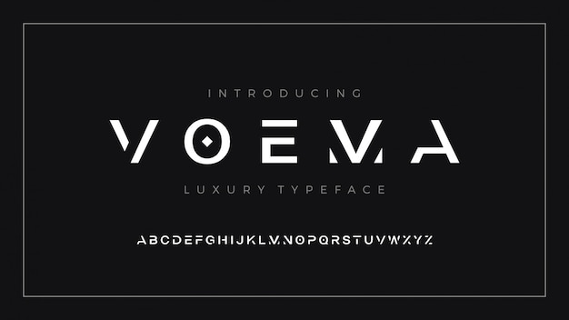 Luxury modern clean font letter set voema typeface