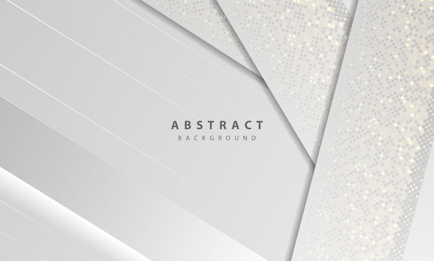 Luxury and modern concept texture with silver glitters dots element decoration. white abstract background with paper shapes overlap layers.