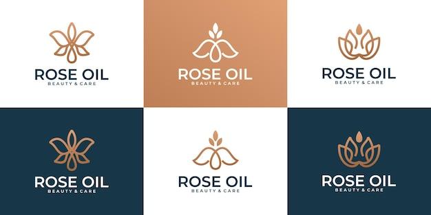 Роскошная современная коллекция логотипов с изображением цветов и капель масла
