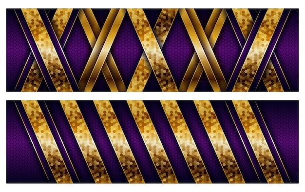 金色の組み合わせで豪華なモダンな紫色のオーバーラップレイヤーの背景