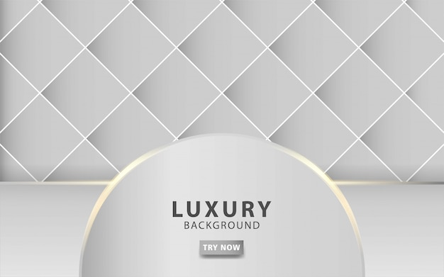 Luxury modern silver grey abstract background with golden line realistic light effect on textured grey square background. digital template,  .