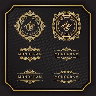 Luxury monogram design with elegant black background