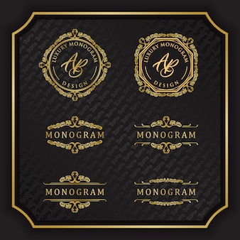 Luxury monogram design with elegant black background