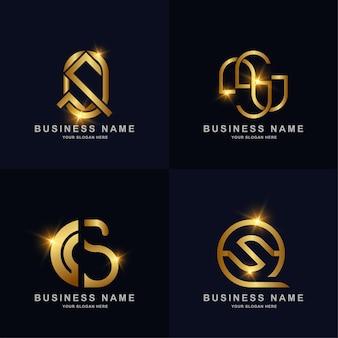 エレガントなゴールドカラーの豪華なモノグラム文字のロゴセットコレクション