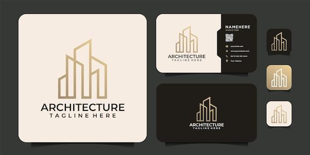 명함이 있는 고급 모노그램 라인 아키텍처 건물 로고 디자인 요소