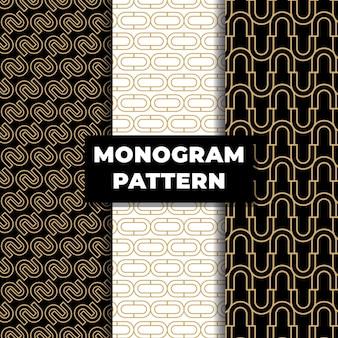 ゴールドカラーの高級モノグラムシームレスパターン