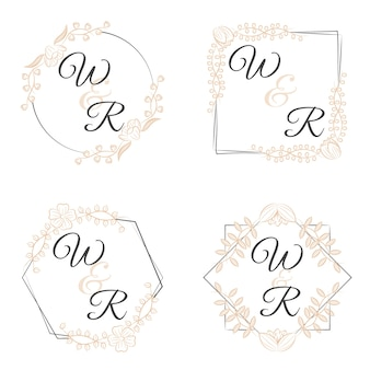 Luxury monograms with flowers for weddings