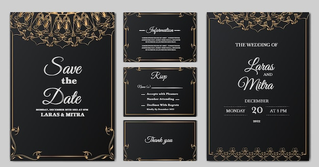 Luxury monoline floral wedding invitation card set