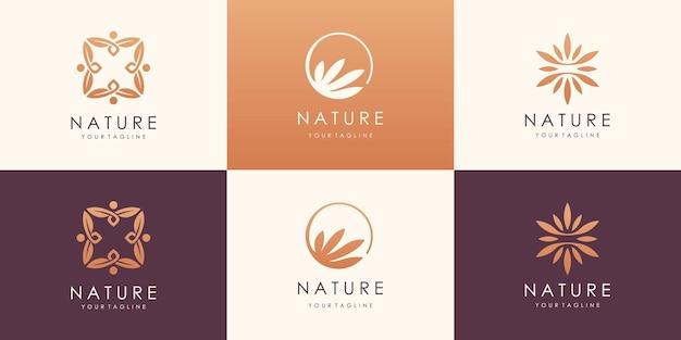 Роскошный дизайн логотипа gold nature