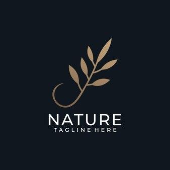 Роскошная природа золотой лист цветок минимальный логотип