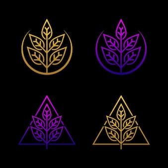 Значок логотипа листьев роскоши природы.