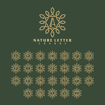 Luxury nature letter logo template concept.