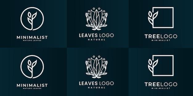 ブランディング、コーポレートアイデンティティのための豪華な自然のロゴデザインコレクション。