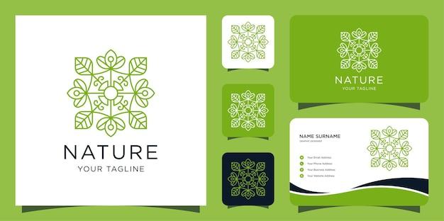 豪華な自然のロゴ。葉と蓮のモダンなスタイルのデザインテンプレートと名刺