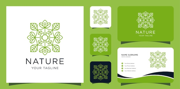 Luxury nature logo. leaf and lotus modern style design template and business cards