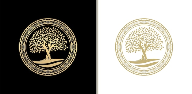 Luxury oak tree stamp, badge or circle frame logo with river, lake or water. golden gradient color