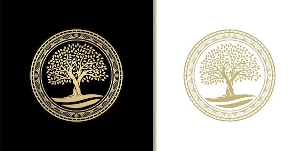 川、湖、または水と豪華な樫の木のスタンプ、バッジまたはサークルフレームのロゴ。ゴールデングラデーションカラー