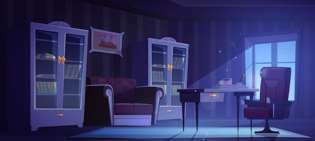밤에 고전적인 골동품 스타일의 고급 사무실. 나무 단단한 가구 secretaire 테이블이있는 빈 어두운 인테리어