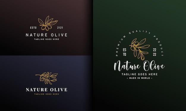 Роскошный дизайн логотипа оливковой линии.